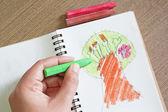 Trädets målning på papper med pastellfärger — Stockfoto