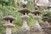 Stone tower japanese lanterns in Hasedera temple — Foto Stock