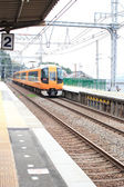Local train is passing Hasedera station at Nara city in Japan — Stock Photo