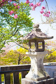 Stone tower japanese lanterns with sakura — Stock Photo