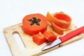 Sweet papaya close up isolated — Stock Photo