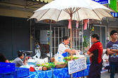 Local food shop on Chiangmai Sunday walking street on May 04, 2014 in Chiangmai, Thailand. — Stock Photo