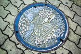 Osaka Castle on manhole cover of Osaka — Zdjęcie stockowe