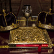 Two Orthodox Wedding Ceremonial Crowns book and ceremonial cup on table — Stock Photo