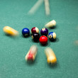 Billiard table with colorful balls — Stock Photo