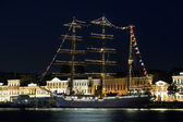 Sailing ship at night — Foto de Stock