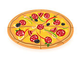 Vector. Fresh pizza — Stock Vector