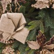 Christmas Pine and Burlap Wreath — Stock Photo