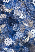Blue and Silver Christmas Tinsel — Stock Photo