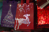 Red and Silver Reindeer Christmas Bag — Stock Photo