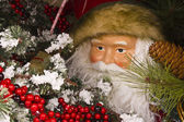 Santa Looking Out From a Wreath — Stock Photo