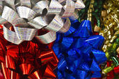 Blue, Red and Silver Christmas Bows — Stock Photo