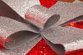 Red and Silver Christmas Present — Stockfoto