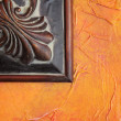 Orange Wall Brown Frame Abstract — Stock Photo