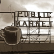 Pike Place Public Market and Cloudy Sky — Stock Photo
