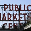 Pike Place Public Market and Blue Sky — 图库照片