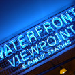 Neon Blue Waterfront Viewpoint Sign — Stock Photo