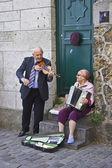 Happy Senior Couple Playing Music — Stock Photo