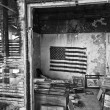 US Flag in an Abandoned Building — Stock Photo
