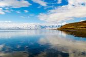 Panorama of Lake Manasarovar. Tibet — Stock Photo