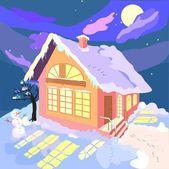 House in winter night — Stock Vector