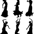 Six silhouettes of flamenco dance — Stock Vector
