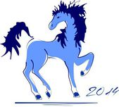 Blue horses - symbol of 2014 year — Stock Vector