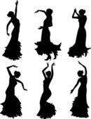 Six silhouettes of flamenco dance — Stock Vector
