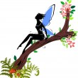 Silhouette of fairy sitting on branch of blossoming tree — Stock Vector