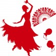 Silhouette of flamenco dancer with fan and castanets — Stock Vector