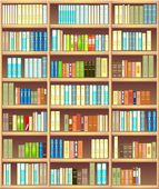 Bookcase full of different colorful books — Stock Vector