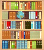 Bookcase with a globe and books — Stock Vector