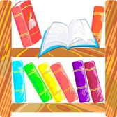 Bookcase with open book — Stock Vector