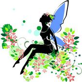 Silhouette of fairy in flower — Stock Vector