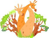 Couple hug giraffes among the trees — Stock Vector