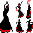 Five silhouettes of flamenco dancer — 图库矢量图片