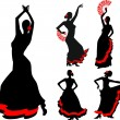Five silhouettes of flamenco dancer — Imagen vectorial