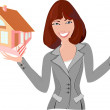 Beautiful realtor with model of the house — Stock Vector #36031455
