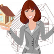 Beautiful realtor with model of the house — Stock Vector #36031565