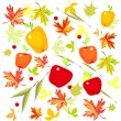 Stock Vector: Background with autumn leaves and apples