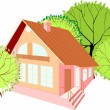 House with green trees — Stock Vector