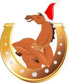 Golden horseshoe and athletic horse in Christmas hat — Stock Vector