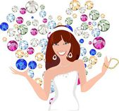 Beautiful young woman with jewelry — Stock Vector
