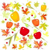 Background with autumn leaves and apples — Stock Vector
