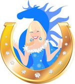 Snow-maiden in blue Christmas costume — Stock Vector