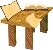 Wooden table with old open books — Vector de stock