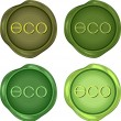 Stock Vector: Set of green wax stamps for environmentally friendly products