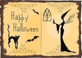 Halloween Card with silhouette of witch and cat — Stock Vector