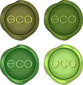 çevre dostu ürünler için yeşil balmumu pul seti — Stok Vektör