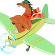 Horse-aviator in airplane — Stock Vector #36869441